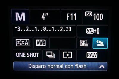 opciones del flash en canon