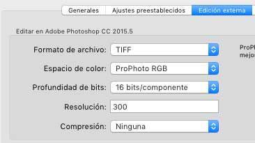 exportar archivos en lightroom tiff