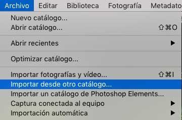 juntar dos catálogos de Adobe Ligthroom