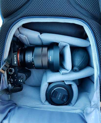 mochila k&F concept azul cuero