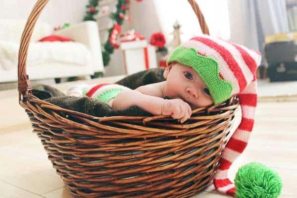 fotos de bebés en una cesta de mimbre