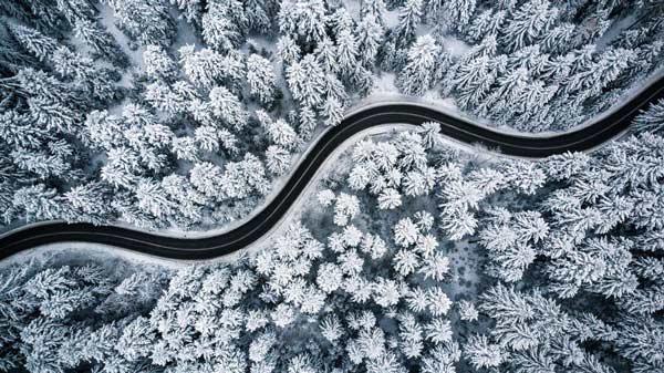 fotografía aérea invernal